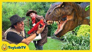 Giant T Rex Life Size Dinosaurs With Park Rangers Aaron Lb Kids Adventure Dinosaur Toys