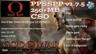 God of War: Chains Of Olympus (250MB cso) PPSSPP v1 7 5 best settings for  low specs android