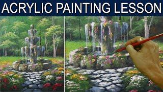 14aa906af Acrylic Landscape Painting Lesson | Flower Garden with Old Fountain by JM  Lisondra