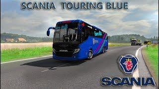 ets2 mods Scania touring Blue Euro bus HD skin with Passenger Fix chassis  and air suspension