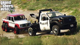 FORD F-550 POLICE TOW TRUCK! Off-Road 4x4 Towing, Mudding, & Hill Climbing!  (GTA 5 PC Mods)